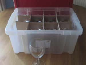 Glasses   12 Wine Glasses And 12 Beer Glasses In Plastic Storage Boxes In  Hove