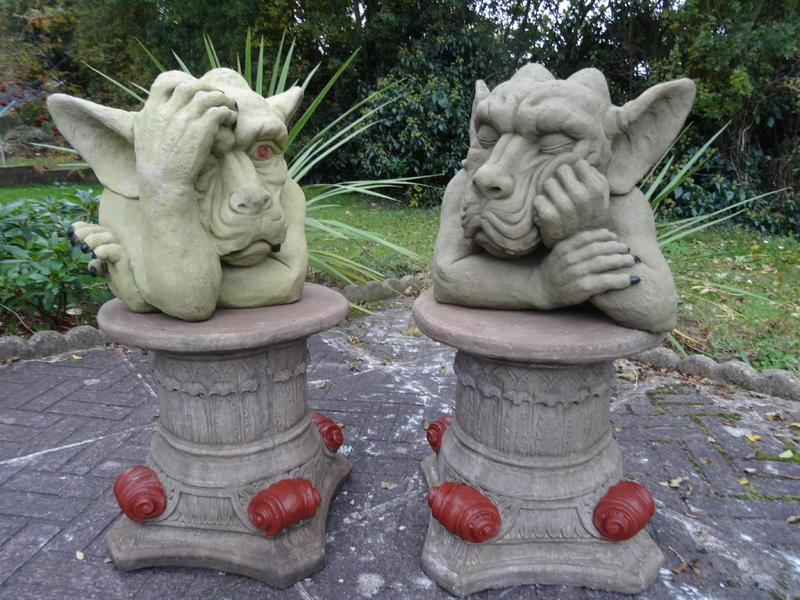 Pair Gothic Stone Large Head Claw Muscle Gargoyle U0026 Scroll Plinth Garden  Statues In Chester   Expired | Friday Ad