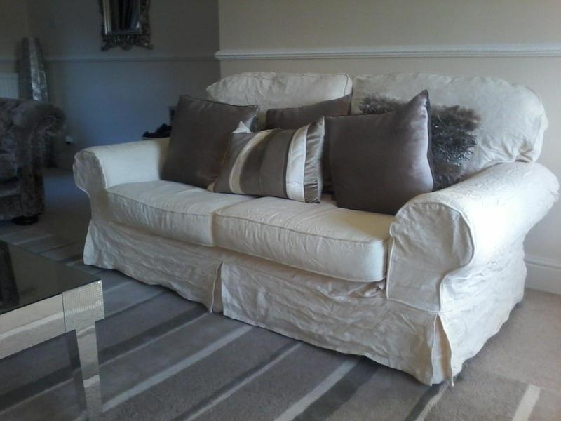 Merveilleux Two Cream Fabric 2.5 Seater Sofas With Loose Removable Machine Washable  Covers Plus Two Extra Covers In Crawley   Expired | Friday Ad