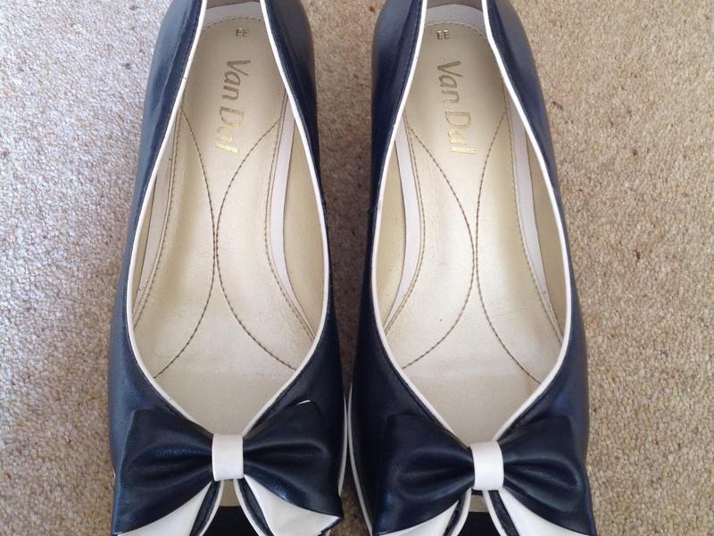 Van Dal Navy Wedge Peep Toe Shoes in Glastonbury