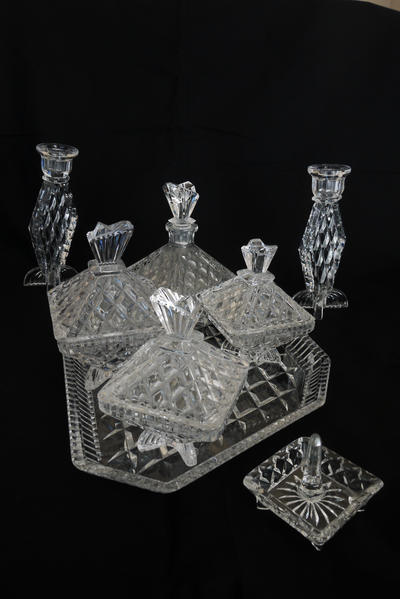 VINTAGE CUT GLASS 8 PIECE DRESSING TABLE SET WITH CANDLE HOLDERS in ...