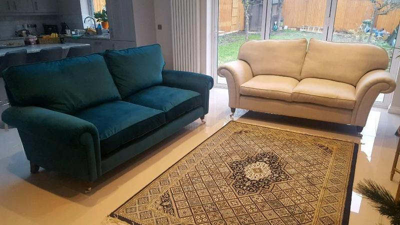 Laura Ashley Kingston Large Two Seater Sofa Setee Teal Brand New