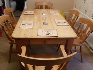 Solid 5x3 Natural Pine Table With A Drawer And 6 Chairs In Northampton
