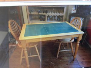 Tile Inlaid Pine Table And Four Dining Chairs Excellent Condition House Move Forces Sale