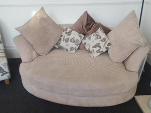 DFS 3 Piece Suite GOOD CONDITION Beige Butterfly Pattern In Southsea
