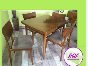 Retro Drawleaf Table 4 Chairs For Reupholstery