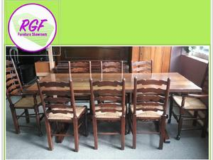 Stunning Solid Oak Dining Table Set Of 8 Chairs