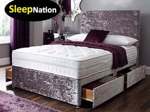 Crush Velvet Divan Bed With 10inch Cloud 9 Memory Foam Sprung Orthopedic Mattress Brand New In