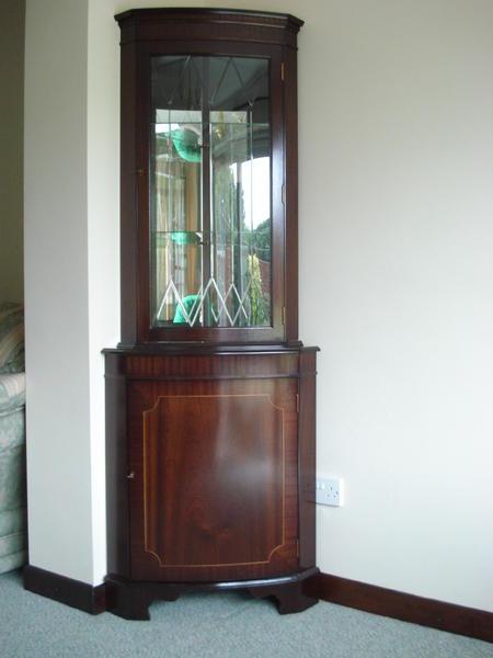 Beau Dark Wood Corner Cabinet In Bristol
