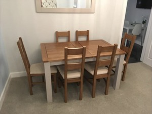 Solid Oak Extendable Dining Tables With 6 Chairs From Oak Furniture Land In  East Grinstead