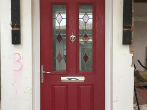 Composite red Yale front door and frame with double glazed obscured glass panel above. in & Second Hand Doors for Sale in Brighton | Friday-Ad