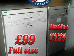 Bosch Dishwasher  White Silver Standard Slimline  in St. Leonards-On-Sea