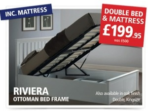 OTTOMAN BED FRAME AND SPRUNG MATTRESS FROM ONLY £199.99 in Hove