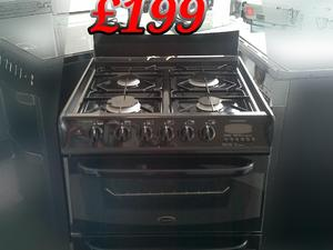 Gas Cooker 60cm Double Oven Cannon Black  in St. Leonards-On-Sea