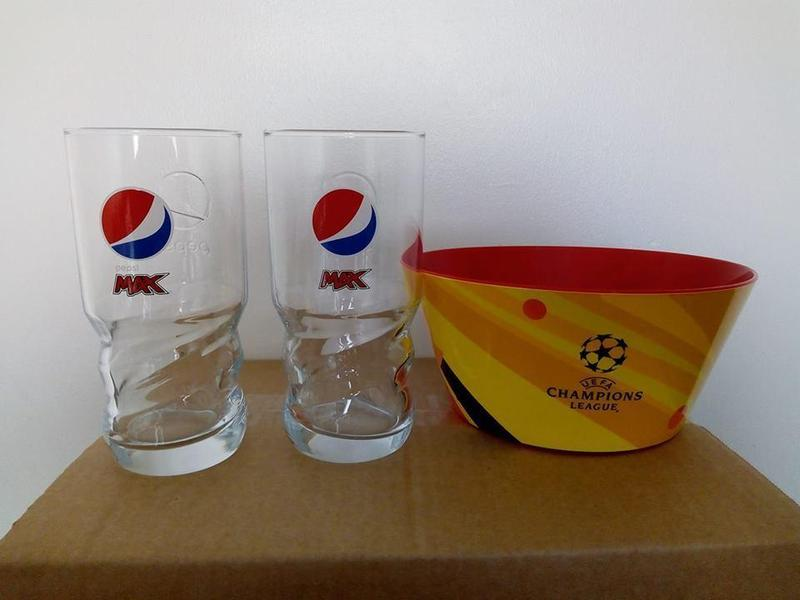 LIMITED EDITION 2 X PEPSI MAX GLASSES 1 X LARGE UEFA CHAMPIONS LEAGUE SNACK BOWL