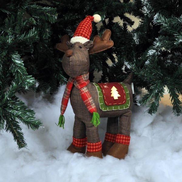beautiful large reindeer christmas decorations in 2 colour variations brown and red tartan pattern in