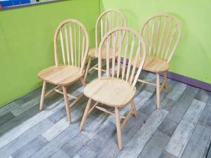 Set Of 4 Light Wood Dining Chairs (pfp) in Lancing