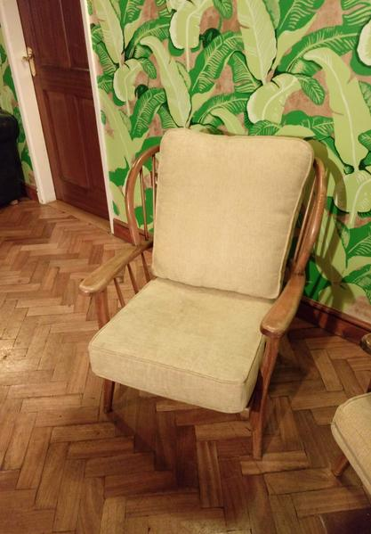 Vintage Ercol High Back Smooth Medium Hard Wood Sofa And Arm Chair