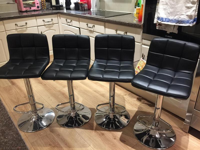 Awesome Cube Bar Stools X 4 As New Black Faux Leather Chrome In Short Links Chair Design For Home Short Linksinfo