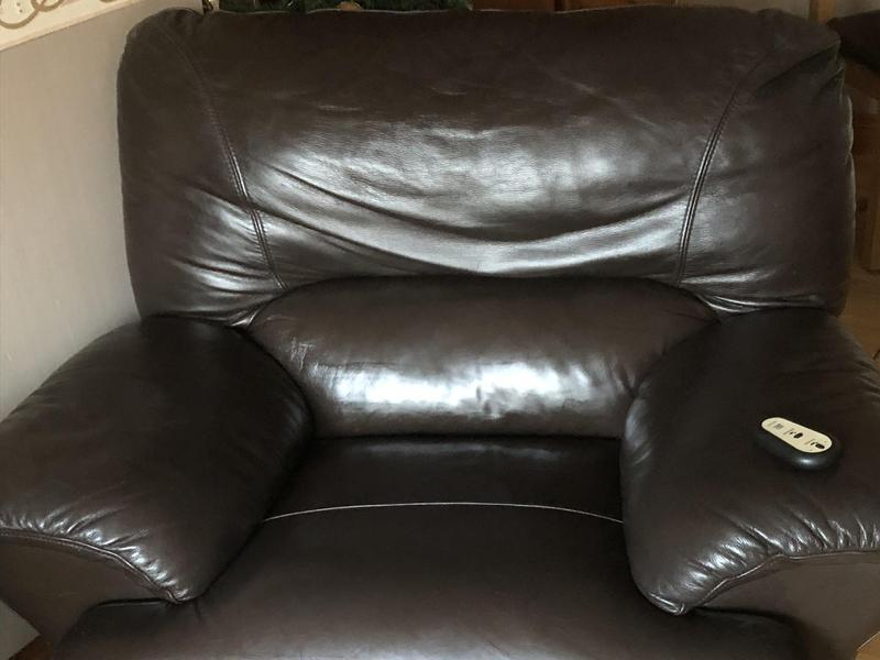 Pair Brown Leather Electric Reclining Armchairs In