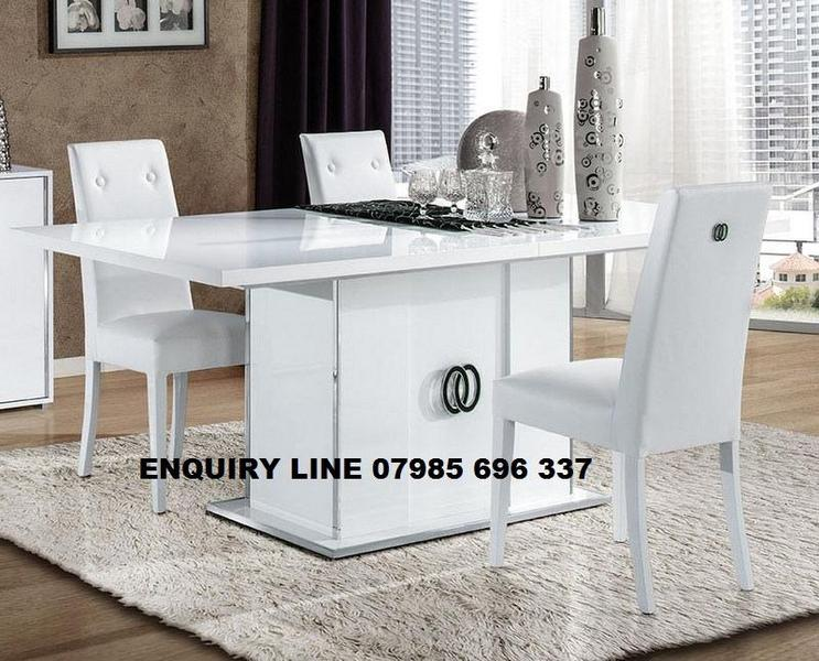 Athen Italian Dining Table And Chairs Super High Gloss In Dartford