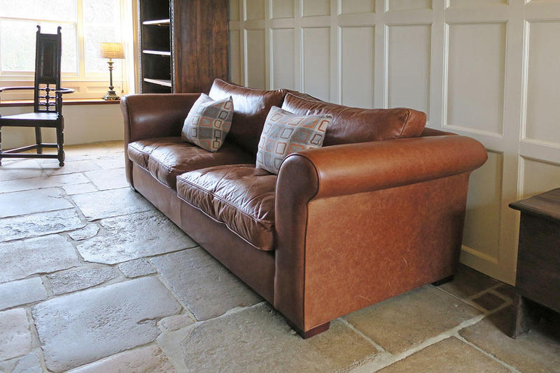 Laura Ashley Large 3 Seater Brown Leather Sofa in Polegate ...