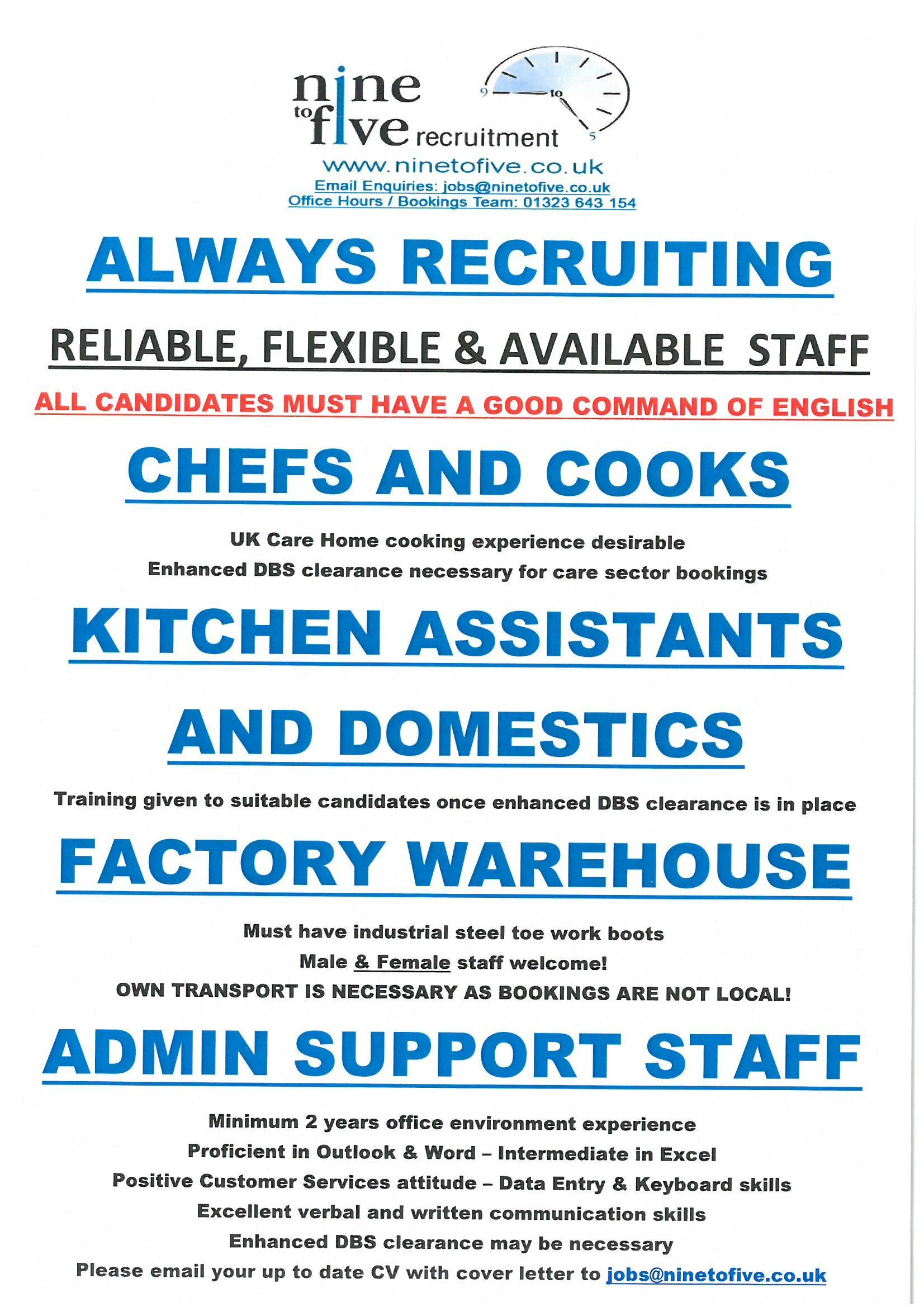 DBS cleared CATERING staff (Chefs, Cooks and Kitchen Assistants