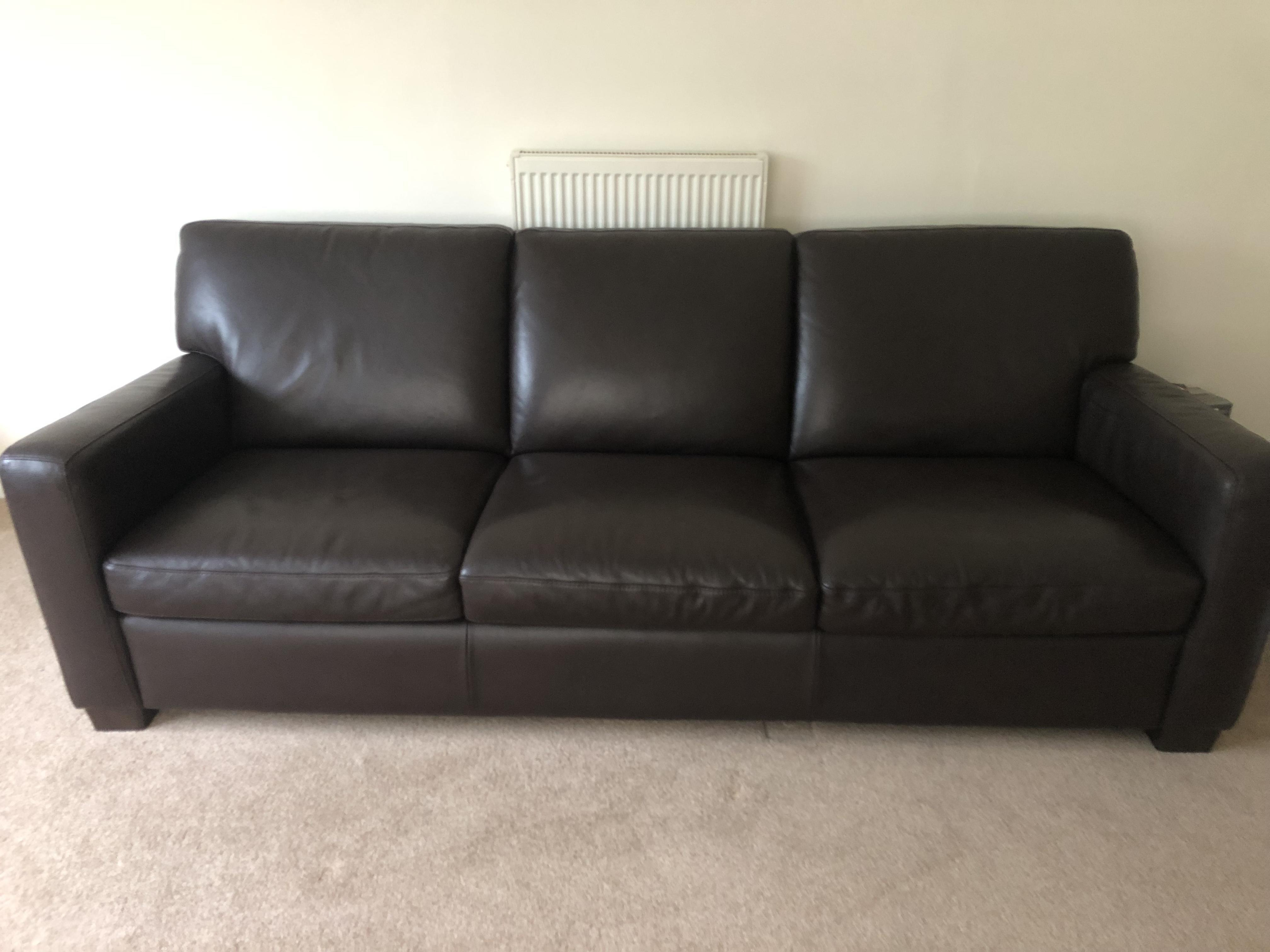 One 3 seater & one 4 seater brown leather sofas for sale in ...
