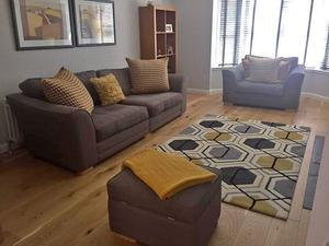 Sofa With Chaise And Swivel Cuddle Chair In Bishop Auckland Sold