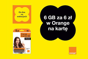 6 GB za 6 zł na wakacje w Orange na kartę
