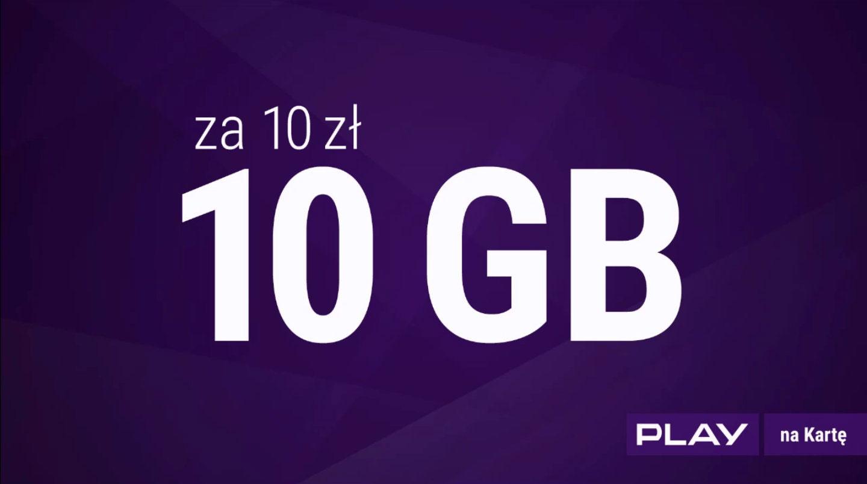 Pakiet Internetowy 10 GB za 10 PLN w Play! (30 dni)