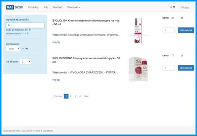 lista produktów z wyszukiwarką i paginacją