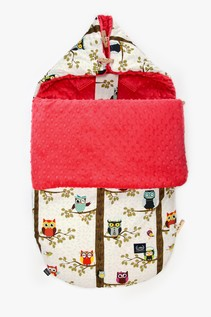 "BY ANNA MUCHA STROLLER BAG: ŚPIWOREK ""M""- OWL RADIO - WATERMELON"
