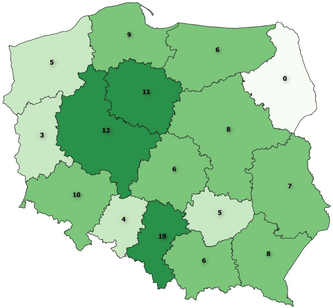 Liczba dużych hal sportowo-widowiskowych w poszczególnych województwach.