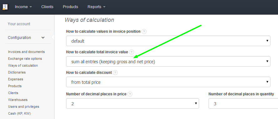 InvoiceOcean Support Changing The Method Of Calculating Total - Invoice value