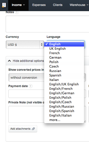 InvoiceOcean Support How To Issue A Bilingual Invoice - Invoice to go prices