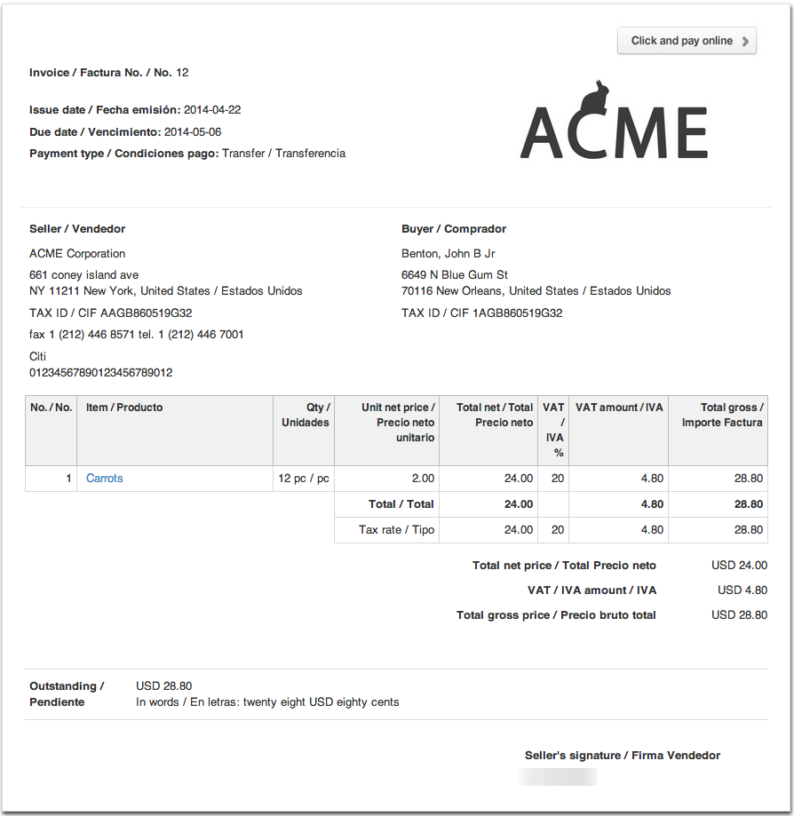 how a bilingual invoice looks - Invoice