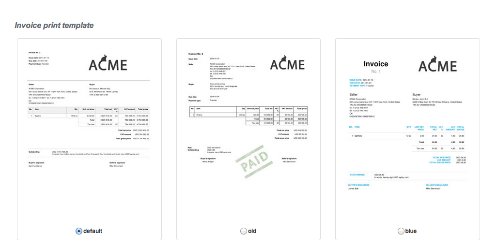 invoiceocean support changing the invoice template