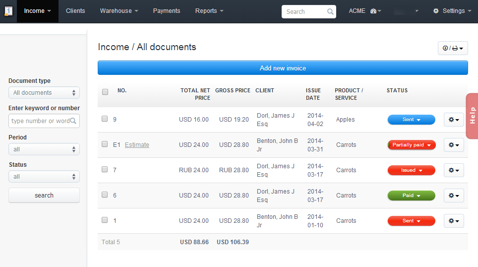 InvoiceOcean Allows You To Easily Edit Multiple Invoices At Once.  Payment Invoices