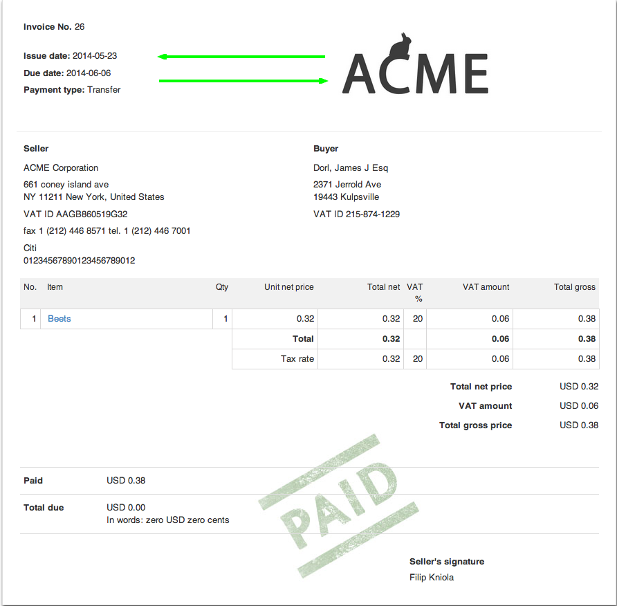 Switching The Invoice Information With Logo  Invoice Logo