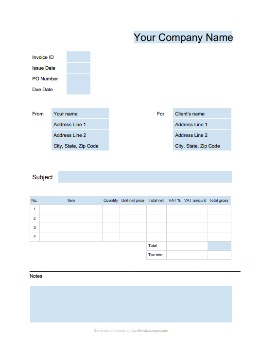 Online Invoices invoicing software invoice generating online – Microsoft Word Invoice Template