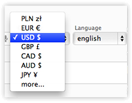 A selection of currencies and languages