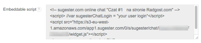 Example Sugester chat widget code snippet