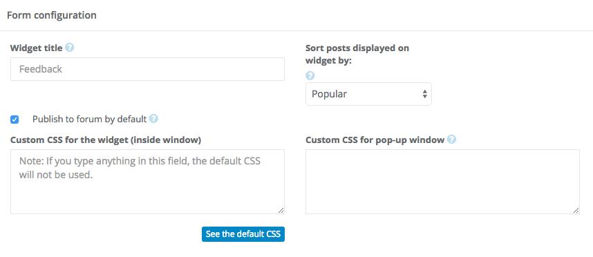 Sugester widget configuration - advanced options