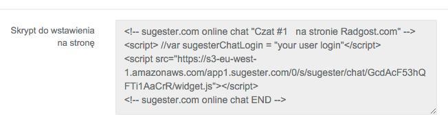 Przykładowy kod do osadzenia Sugester live chat