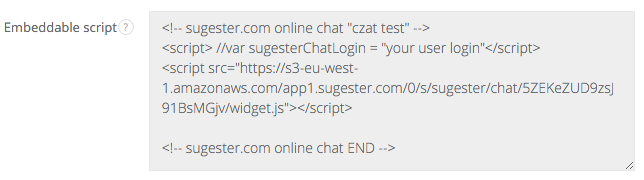 Example embed code for Sugester live chat