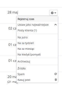 Opcja rejestracji czasu w Sugesterze - skrzynka odbiorcza
