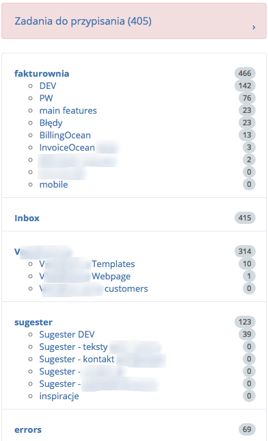 Przykładowe tabele projektów wygenerowane przez Sugestera