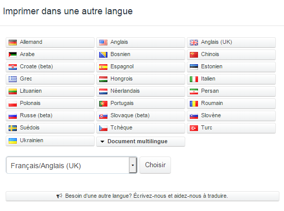 Plus de 20 langues disponibles