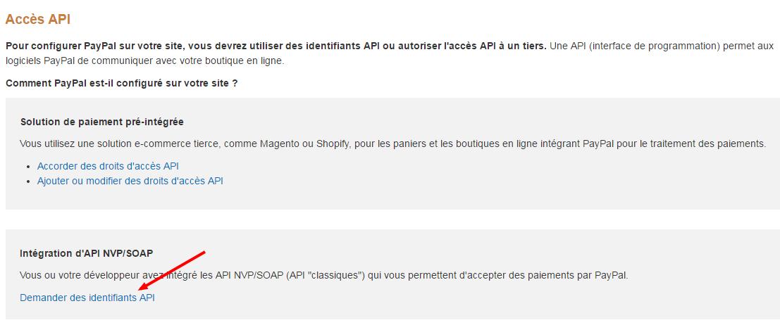 Facturation Paiement en Ligne PayPal Intégration API Signature Clé